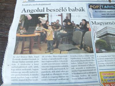 Újságcikk az I. baba angol fesztiválról